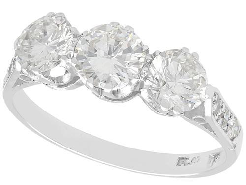 1.70ct Diamond & 18ct White Gold Trilogy Ring - Vintage c.1940 (1 of 9)