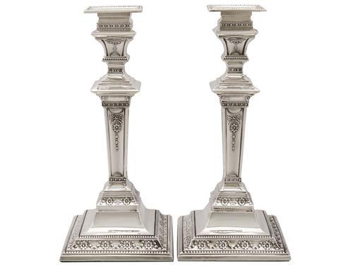 Sterling Silver Candlesticks - Antique Edwardian 1901 (1 of 12)