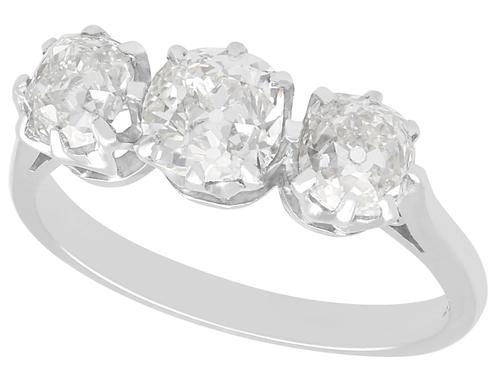 1.85ct Diamond & 18ct White Gold Trilogy Ring - Antique & Vintage (1 of 9)