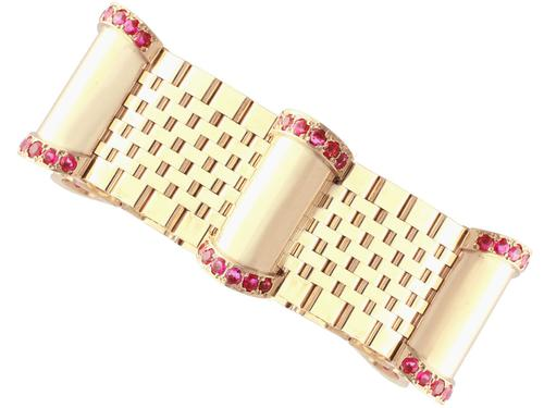 3ct Ruby & 9ct Yellow Gold Bracelet - Vintage 1959 (1 of 12)