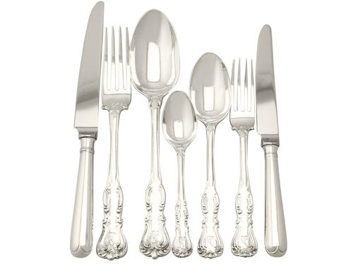 Sterling Silver Canteen of Cutlery for Twelve Persons by George Adams - Antique Victorian 1850 (1 of 15)