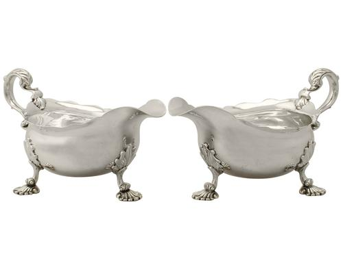 Pair of Sterling Silver Sauceboats - Antique George II (1 of 12)