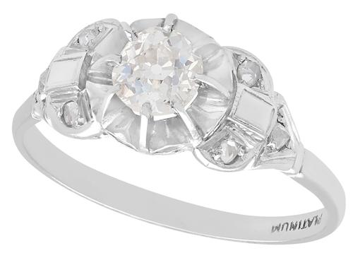 0.72ct Diamond & Platinum Solitaire Ring - Antique c.1910 (1 of 9)