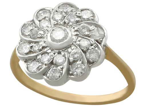 0.68ct Diamond & 14ct Yellow Gold Cluster Ring - Vintage c.1940 (1 of 9)