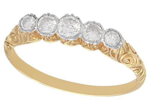 0.42ct Diamond & 14ct Yellow Gold, Five Stone Ring - Antique c.1920 (1 of 9)