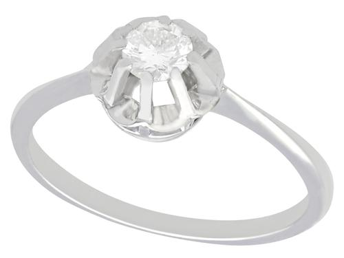 0.33ct Diamond & 18ct White Gold Solitaire Ring - Vintage c.1940 (1 of 9)