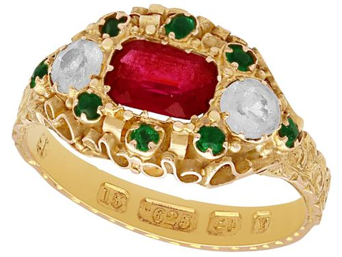 Paste & 15ct Yellow Gold Dress Ring - Antique Victorian 1873 (1 of 9)