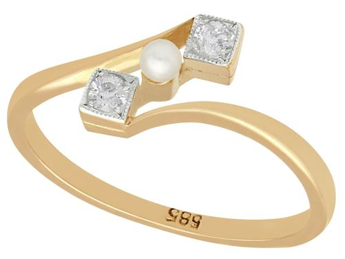 Seed Pearl & Diamond, 14ct Yellow Gold Twist Ring - Antique cc.1900 (1 of 9)