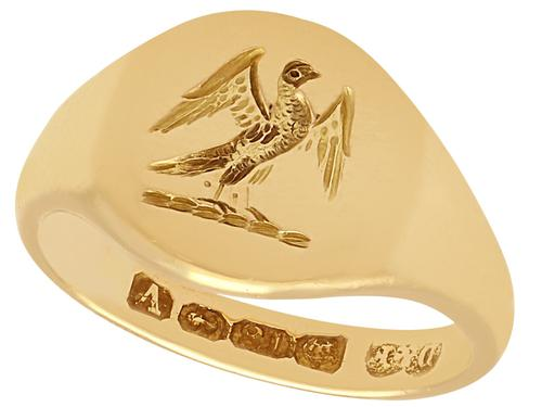 18 ct Yellow Gold Signet Ring - Antique 1920 (1 of 6)