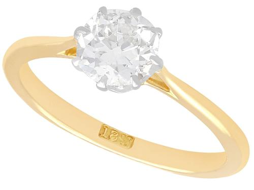 0.75ct Diamond & 18ct Yellow Gold Solitaire Ring - Antique c.1920 (1 of 9)
