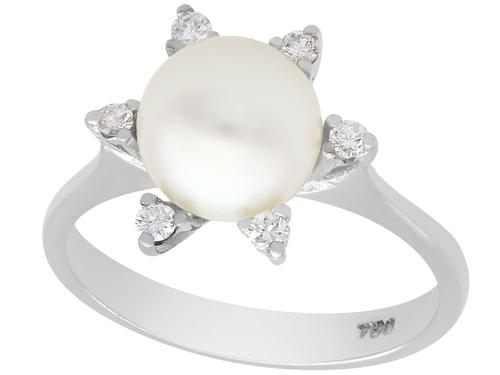 Cultured Pearl & 0.18ct Diamond, 18ct White Gold Dress Ring - Vintage c.1970 (1 of 9)