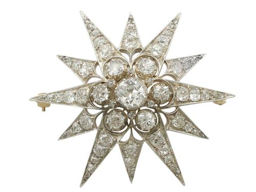 7.08ct Diamond & 10ct Yellow Gold Star Brooch - Antique c.1880 (1 of 8)