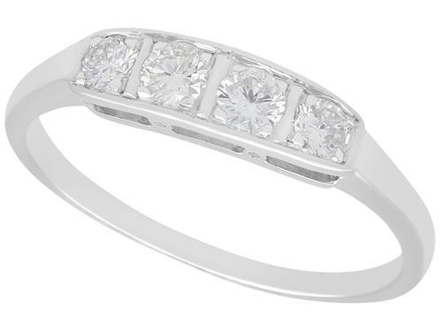 0.35ct Diamond & 14ct White Gold Dress Ring c.1930 (1 of 9)