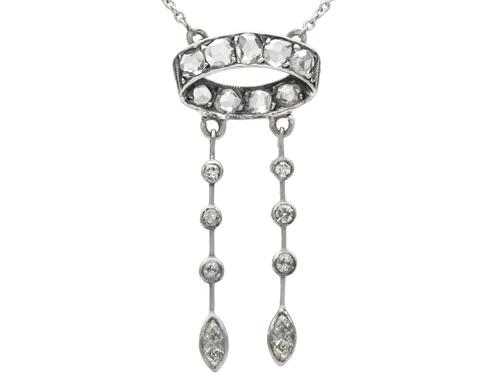 0.72 ct Diamond and 18 ct White Gold Necklace - Antique circa 1920 (1 of 9)