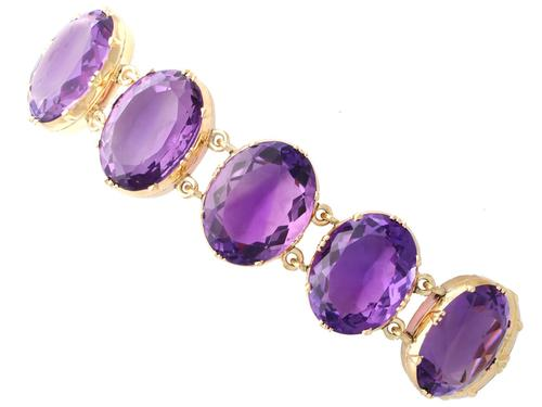 193.38ct Amethyst & 12ct Yellow Gold Bracelet - Antique Victorian c.1870 (1 of 12)