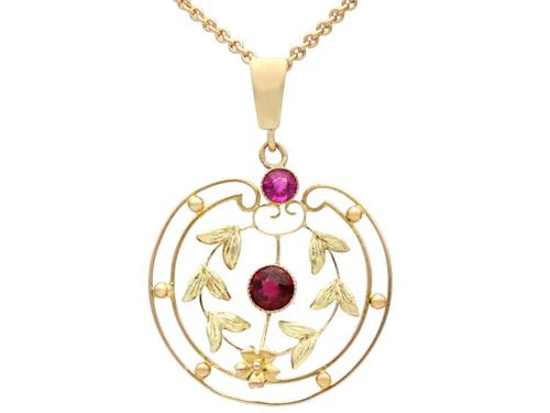 0.48 ct Garnet and Amethyst, 9 ct Yellow Gold Pendant - Antique circa 1920 (1 of 9)