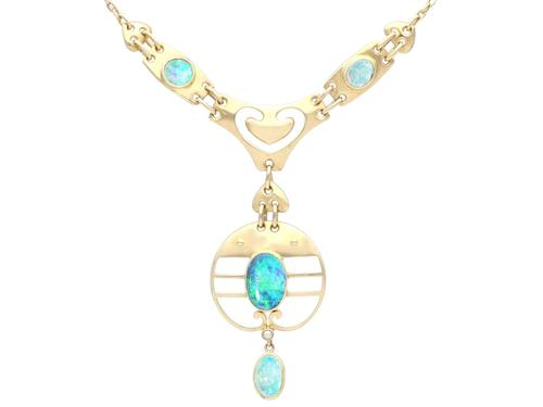 Antique 2.62ct Opal & 15ct Yellow Gold Necklace by Murrle Bennet & Co C.1900 (1 of 9)