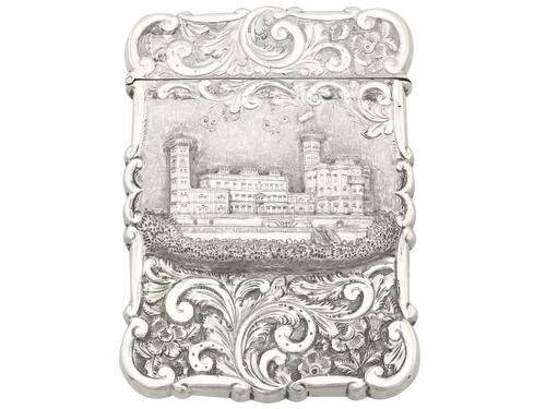 Sterling Silver Castle Top Card Case - Antique Victorian 1858 (1 of 9)