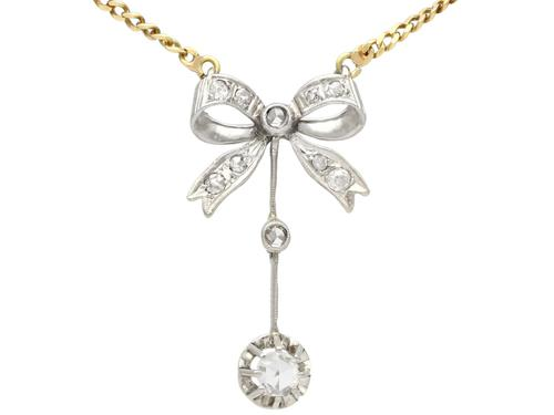0.45ct Diamond & 18ct White Gold Bow Necklace - Antique c.1920 (1 of 9)