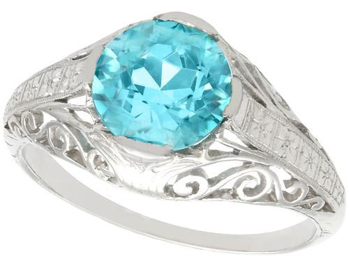 3.34ct Blue Zircon & Platinum Dress Ring - Antique c.1920 (1 of 9)