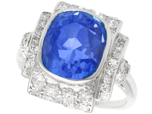 5.86ct Ceylon Sapphire & 0.73ct Diamond, Platinum Dress Ring - Art Deco c.1935 (1 of 9)