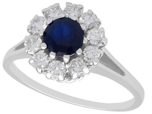 0.78ct Sapphire & 0.74ct Diamond, 18ct White Gold Dress Ring - Vintage c.1980 (1 of 9)