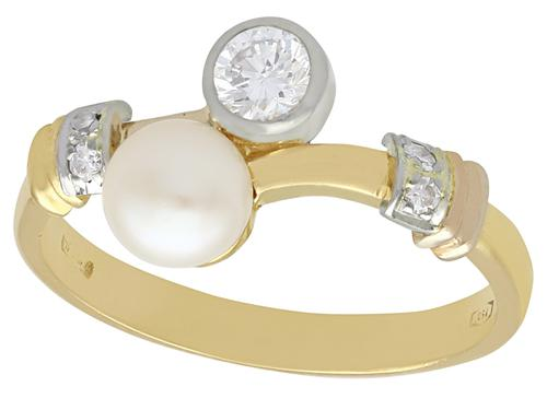 Cultured Pearl & 0.38ct Diamond, 18ct Yellow Gold Twist Ring - Vintage C.1950 (1 of 9)