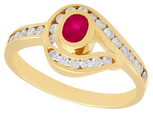 0.28ct Ruby 7 0.39ct Diamond, 18ct Yellow Gold Twist Ring - Vintage c.1980 (1 of 9)