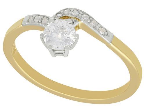 0.50ct Diamond & 14ct Yellow Gold Twist Ring - Antique c.1910 (1 of 9)