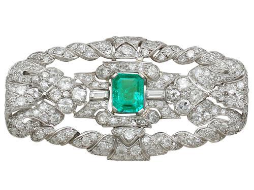 1.98ct Emerald & 5.22ct Diamond, Platinum Brooch - Art Deco c.1930 (1 of 9)