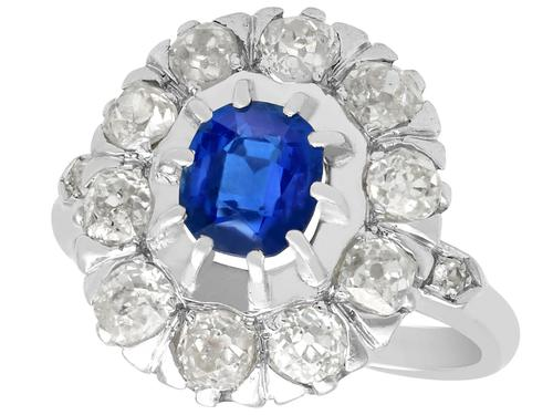1.02ct Basaltic Sapphire & 1.85ct Diamond, 18ct White Gold Cluster Ring c.1930 (1 of 9)