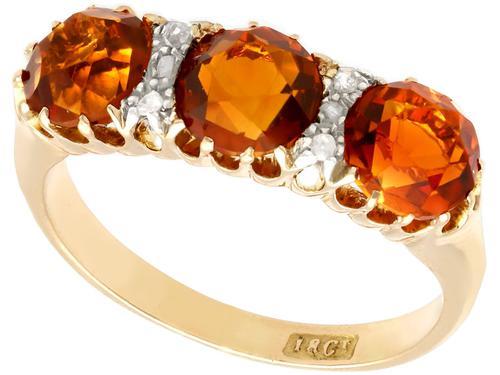 2.76ct Citrine & 0.10ct Diamond, 18ct Yellow Gold Dress Ring c.1930 (1 of 9)