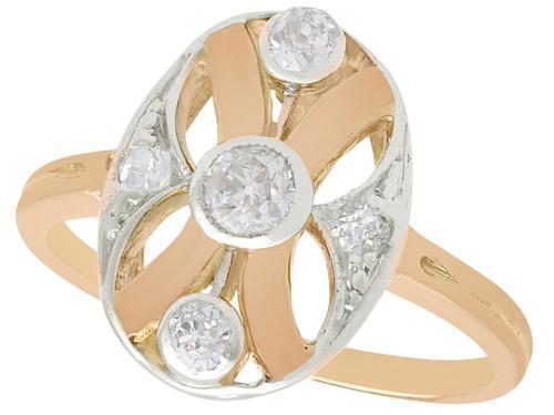 0.29ct Diamond & 14ct Rose Gold Dress Ring c.1930 (1 of 9)