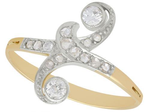 0.26ct Diamond & 18ct Yellow Gold Dress Ring - Antique c.1910 (1 of 9)