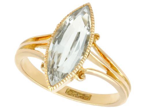 2.33ct Aquamarine & 15ct Yellow Gold Dress Ring - Antique Victorian (1 of 9)