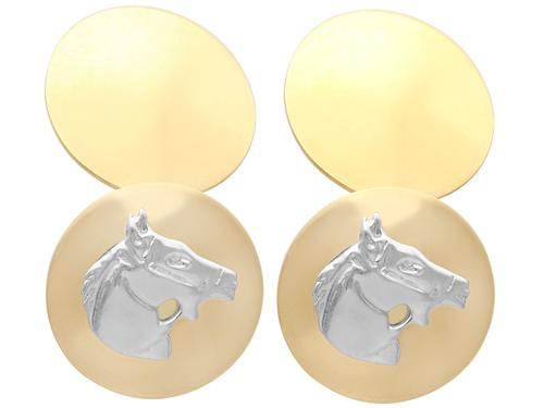 18ct Yellow Gold & 18ct White Gold Horse Cufflinks - Vintage c.1970 (1 of 6)