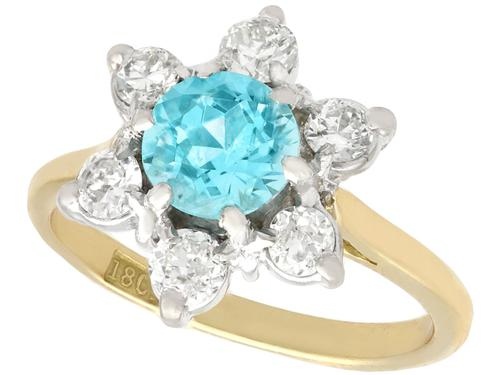 1.18ct Blue Zircon & 0.60ct Diamond, 18ct Yellow Gold Cluster Ring - Antique c.1920 (1 of 9)