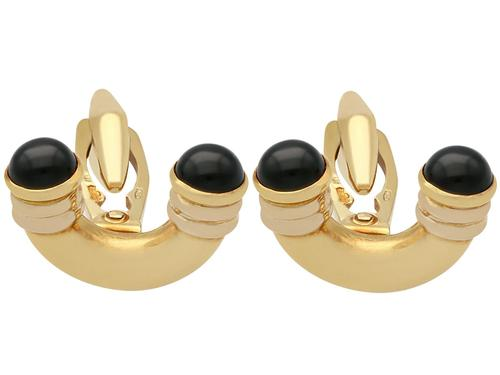 Black Onyx Cufflinks in 18ct Yellow Gold - Art Deco Style - Vintage c.1960 (1 of 9)