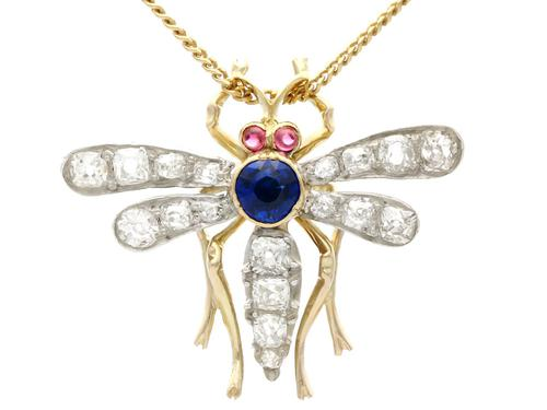 0.45ct Sapphire, 0.92ct Diamond & Ruby, 14ct Yellow Gold Dragonfly Pendant / Brooch - Antique c.1890 (1 of 12)