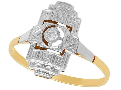 Diamond & 14ct Yellow Gold, 14ct White Gold Set Dress Ring - Art Deco - Antique c.1920 (1 of 9)