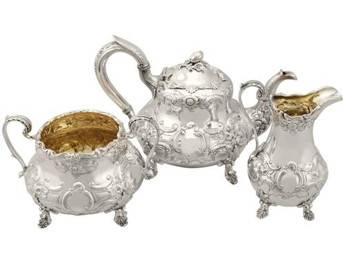 Sterling Silver Three Piece Tea Service - Antique Victorian 1847 (1 of 15)