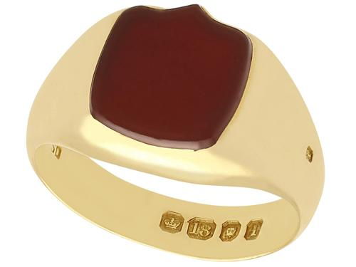 Agate & 18ct Yellow Gold Signet Ring - Antique Victorian (1 of 6)