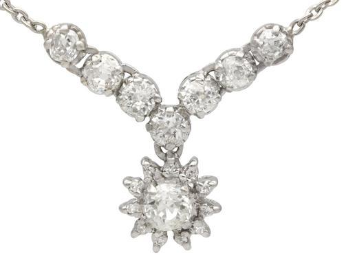 1.99ct Diamond & Silver Necklace - Antique c.1920 (1 of 9)