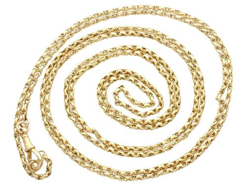 Antique 9ct Yellow Gold Longuard / Watch Chain c.1890 (1 of 12)