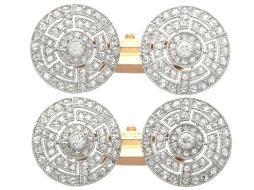 1.56ct Diamond, Platinum & 18ct Gold Cufflinks - Antique c.1920 (1 of 9)