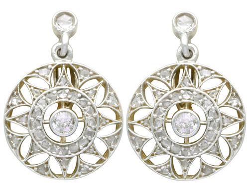 0.59ct Diamond, 14ct Yellow Gold Drop Earrings - Antique c.1905 (1 of 9)