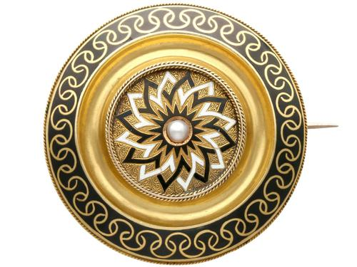 Enamel & Seed Pearl 15ct Yellow Gold Mourning Brooch - Antique Victorian c.1880 (1 of 9)