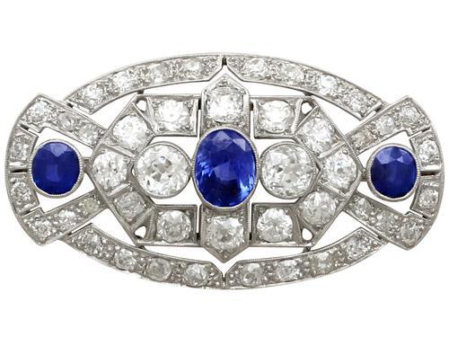 5.68ct Diamond & 2.35ct Sapphire, Platinum Brooch - Art Deco c.1930 (1 of 9)
