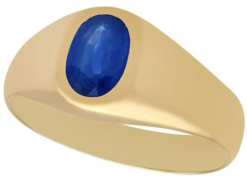1.42ct Sapphire & 18ct Yellow Gold Ring - Vintage c.1950 (1 of 9)