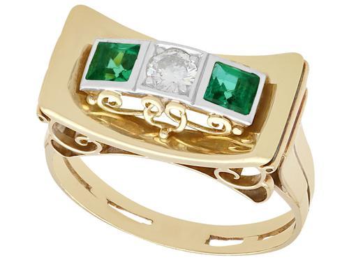 0.42ct Tourmaline & 0.25ct Diamond, 14ct Yellow Gold Ring - Art Deco Style - Vintage c.1950 (1 of 9)